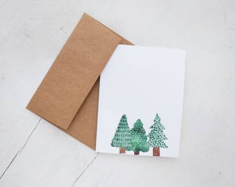 Printable Cards// Beautiful Evergreen Watercolor Cards // Happy Mail //