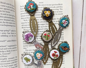 Embroidered Bookmark// Hand Stitched Metal Bookmark
