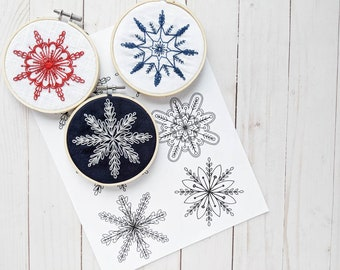 Six Intricate Snowflakes Hand Embroidery Kit