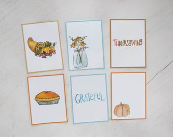 Watercolor Thanksgiving Journal Cards and Die Cut Stickers Printable// Journal, Planner, Scrapbook, Art Journal