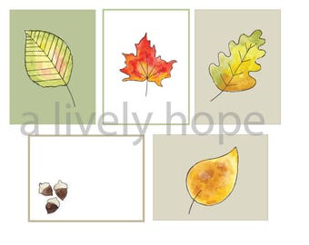 Watercolor Autumn Leaves Journal Cards and Stickers Printable// Journal, Planner, Scrapbook, Art Journal