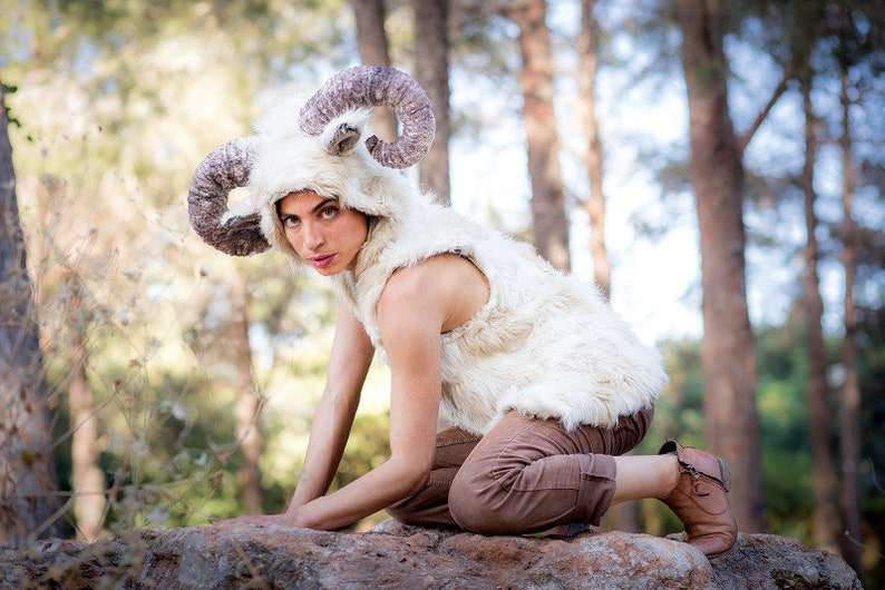 women ram horn sheep costume  ram horn hoodie