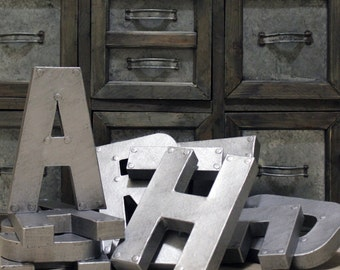 """8"""" or 12"""" Industrial Zinc Faux Metal Letters and Numbers"""
