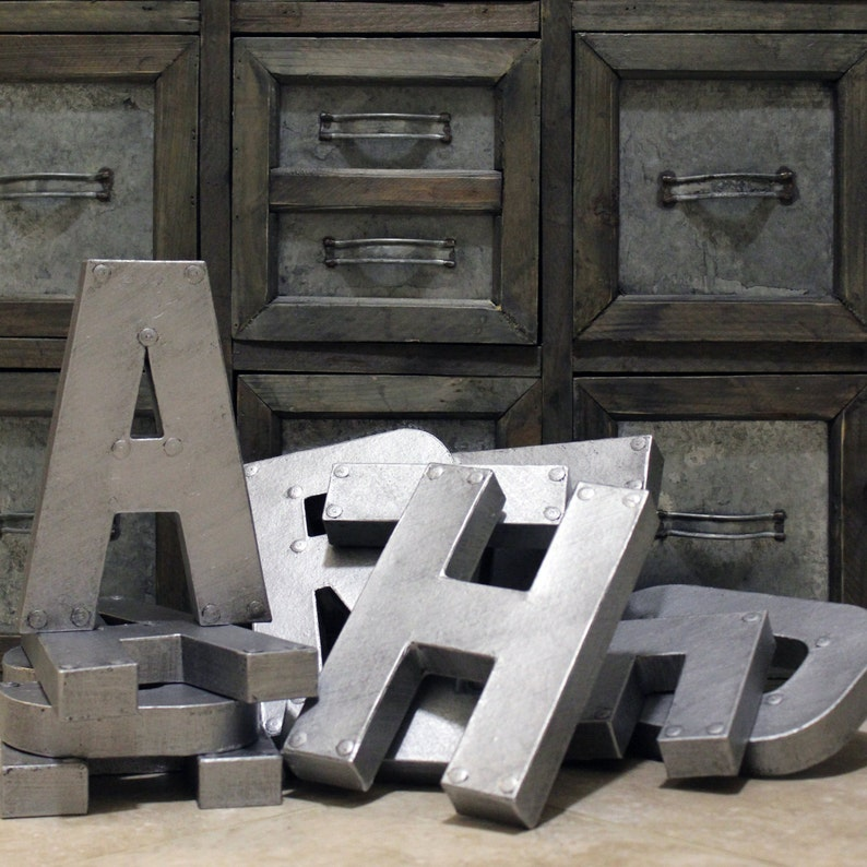 8 or 12 Industrial Zinc Faux Metal Letters and image 0