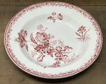 Antique French Fontanges Sarreguemines Red and White Ironstone Soup Plate