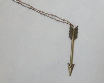 Long bronze arrow necklace, Bronze arrow pendant necklace, Arrow necklace, Long necklace, Layer necklace,Bronze necklace