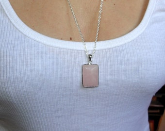 Long silver rose quartz necklace, Rose quartz necklace, Long silver necklace, Rose quartz teardrop necklace