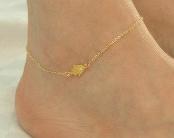 "kelistom Handmade Sideways Hanging Evil Eye Hamsa Hand Charm Anklet for Women Teen Girls Dainty 14K Real Gold Plated Ankle Bracelet with 2/"" Extension Minimalist Jewelry Waterproof and not Tarnish"