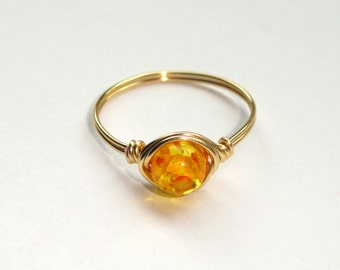Gold Wire Wrapped Rings | Wire Wrapped Ring Etsy