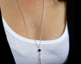 Silver arrow and lapis lazuli necklace, Silver layering necklace, Lapis lazuli and arrow necklace, Long arrow necklace, Gifts
