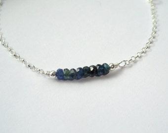 Sterling Silver sapphire bracelet, Sapphire bracelet, Silver gemstone bracelet, Gemstone bracelet, September birthstone bracelet, Gifts