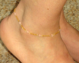 Gold rose quartz ankle bracelet, Gold anklet, Gold rose quartz ankle jewelry, Foot bracelet, Ankle bracelet UK, Rose quartz anklet