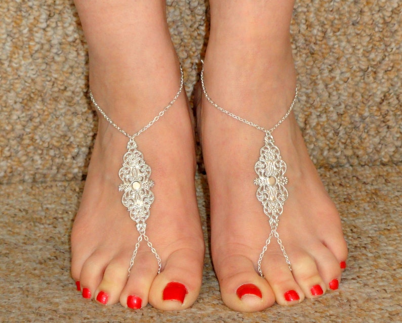 80cbb2be672f Silver grecian style barefoot sandals Silver barefoot
