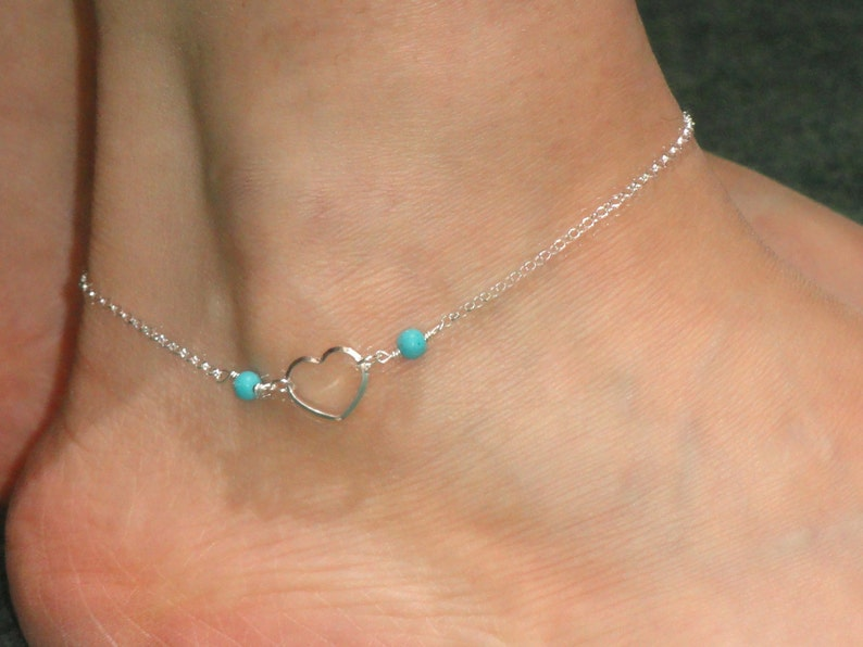 305c48133f Sterling silver heart anklet Heart turquoise anklet Sterling | Etsy