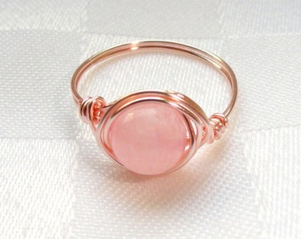 Rose gold wire wrapped rose quartz ring,  Rose quartz wire wrapped ring, Gemstone ring, Rose gold ring, Pink stone ring