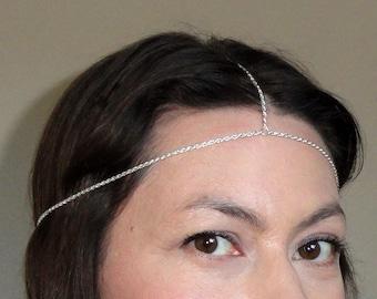 Silver rope headchain, Head jewelry, Chic head piece, Silver head chain, Chain headpiece, Silver chain headband