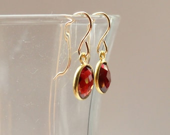 Garnet earrings, Gold garnet earrings, Garnet jewellery, Garnet jewelry, January birthstone earrings, Gifts
