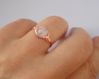 Blue lace agate wire ring,  Blue lace agate wire wrapped ring, Gemstone ring, Rose gold wire ring, Blue stone ring, Stone ring