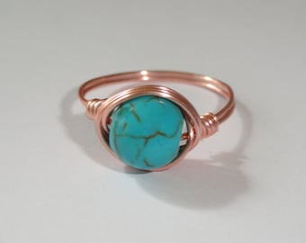 Rose gold turquoise ring,  Turquoise wire wrapped ring, Gemstone ring, Rose gold ring, Blue stone ring