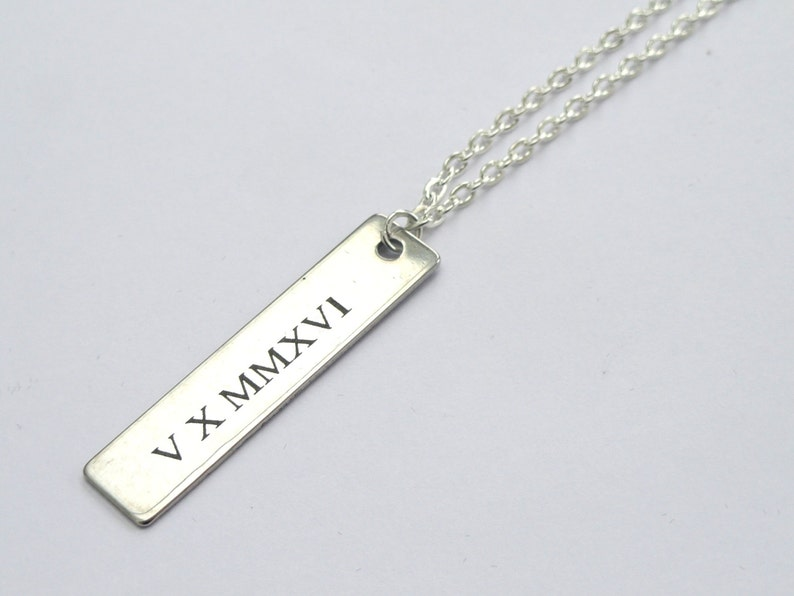 Roman numeral necklace Engraved Tag necklace Silver tag image 0