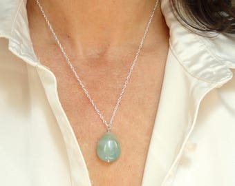 Sterling silver amazonite necklace, Amazonite necklace, Amazonite teardrop necklace, Gemstone necklace