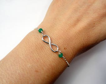 Emerald infinity bracelet, Sterling silver Infinity emerald bracelet, Emerald gemstone bracelet, May birthstone bracelet