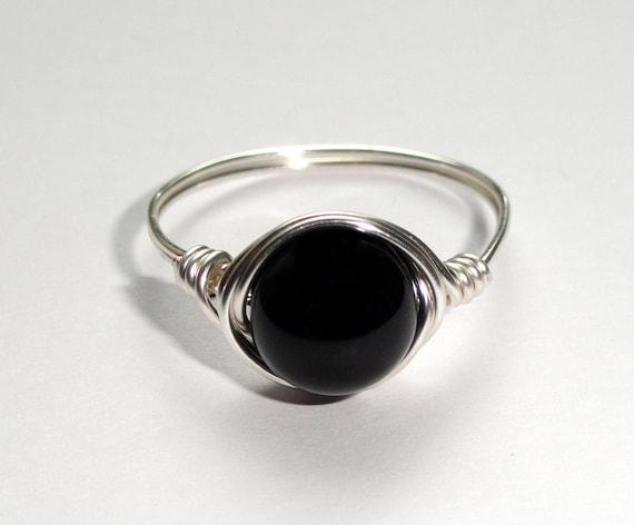 Onyx Silber Drahtring Onyx Draht umwickelt Ring | Etsy