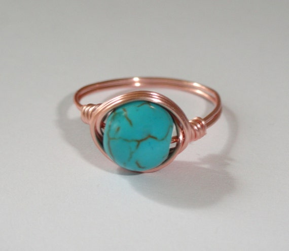 Rose gold Türkis Ring Türkis Draht umwickelt Ring | Etsy