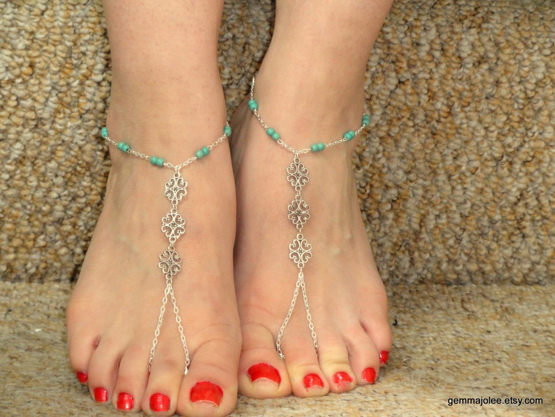 6c9a4629aeee Silver turquoise barefoot sandals Turquoise barefoot sandals