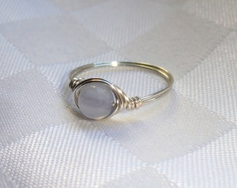 Blue lace agate wire ring,  Blue lace agate wire wrapped ring, Gemstone ring, Silver wire ring, Blue stone ring, Stone ring
