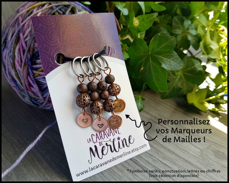 Stitch markers knitting crochet antique copper stamped image 0