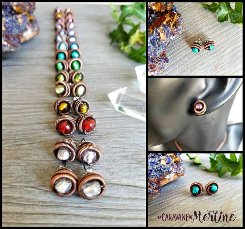 Antique copper spiral on a stainless steal stud earring with a image 0