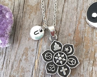 Coexist pendant etsy coexist necklace coexist pendant necklace initial necklace peace yin yang ohm cross coexist peace choker yoga initial gift aloadofball Gallery