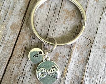 d1a7eaebf7 Pinky Swear Keychain/ Pinky Promise Key Chain/ Pinky Initial Key Ring/  Friend Keychain/ Secret Friend Key Ring/ Initial Pinky Swear Keychain