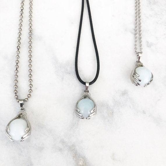 Mother Daughter Opalite Crystal Ball Sphere Necklace Set Mothers Day Gift