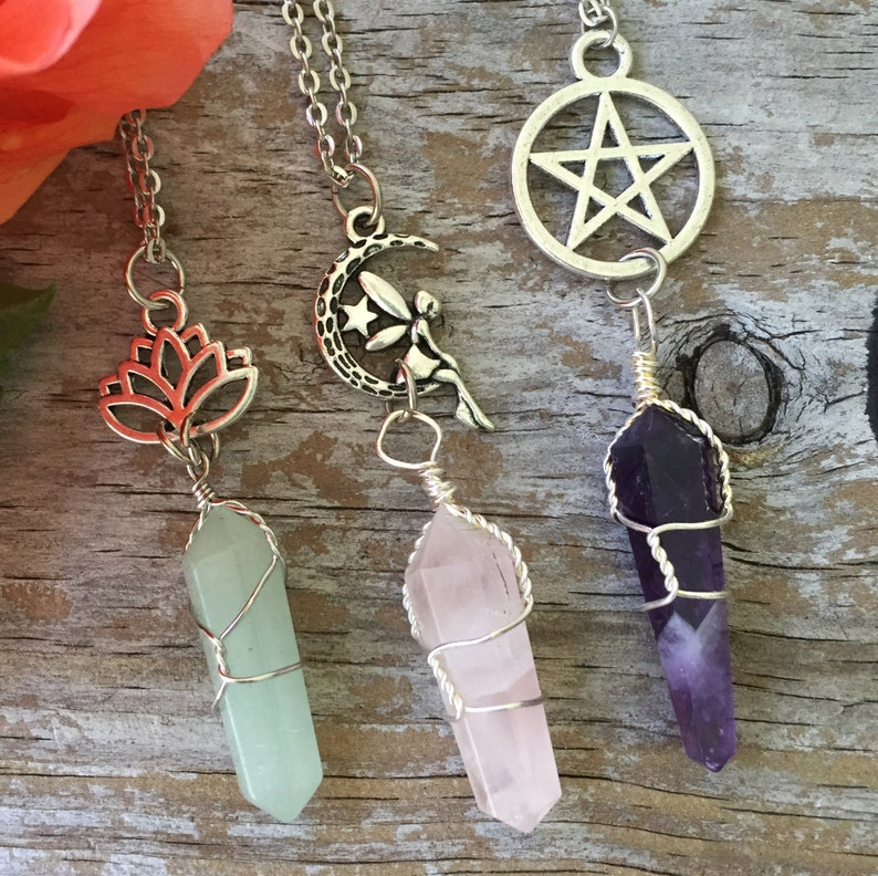 Crystal Fairy Necklace/ Wrapped Crystal Necklace/ Lotus image 0