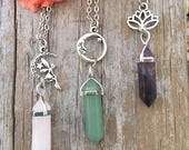 Crystal Fairy Necklace, Lotus Crystal Necklace, Crystal Moon Necklace, You Pick, Healing Crystal NW