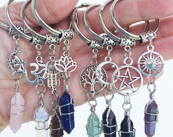 Crystal Key Chain/ Gemstone Charm Keychains/ Mix n Match Charms Crystals/ Wrapped Crystal Keyring/ Crystal Points/Ohm Lotus Fairy Celtic CH