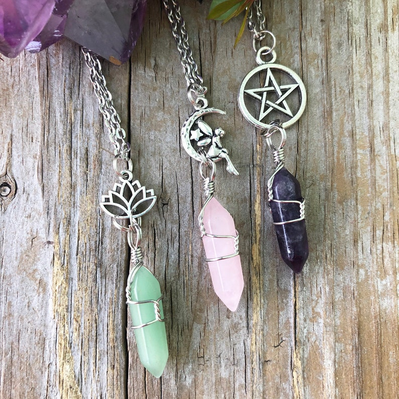 Crystal Fairy Necklace/ Wrapped Crystal Necklace/ Lotus image 1