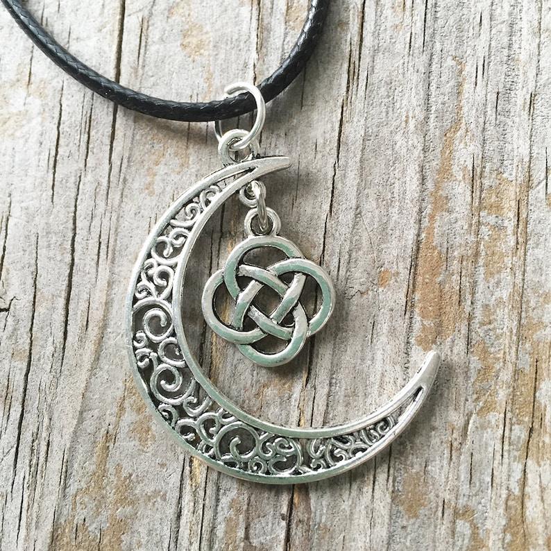 Moon Celtic Necklace Celtic Knot Moon Necklace Moon Necklace Celtic Knot Necklace Moon Charm Necklace Celestial Necklace Celtic