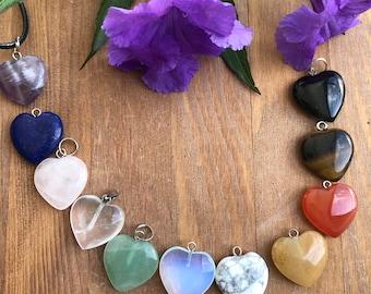 Crystal Heart Necklace, Chakra Small Crystal Mini Heart, Healing Crystal Small lHeart, Pick Yours