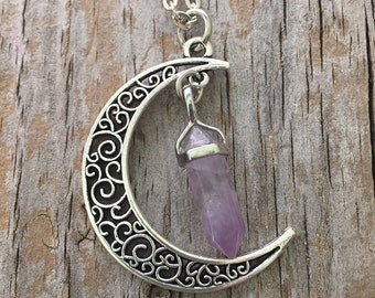 Crescent Moon Crystal Necklace/ Moon Necklace/ Moon Amethyst Necklace/ Celestial Quartz Crystal Necklace/ Aventurine/ Rose Quartz Moon