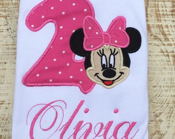 Mouse Birthday Shirt- Pink Girl Mouse Shirt- Embroidered Shirts - Birthday Shirt