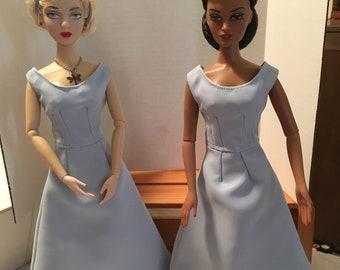 Light Blue Satin & Chiffon Dress for 15 1/2 inch dolls, Tonner, Gene, Violet, Tyler