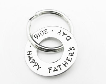 Father's Day Gift - Hand Stamped Jewelry - Personalized Keychain - Father's Keychain - Hand Stamped Keychain