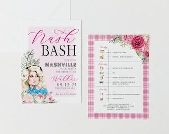Dolly Parton Nashville Bachelorette Invitation   NashBash Invitation   Girls Weekend Invitation   Bachelorette Itinerary   Watercolor
