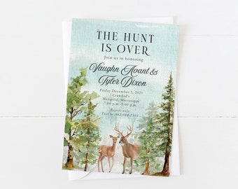 Watercolor Deer Hunting Invitation   The Hunt Is Over Invitation   Deer Birthday Invitation   Whitetail   Outdoors   Rustic Bridal Shower