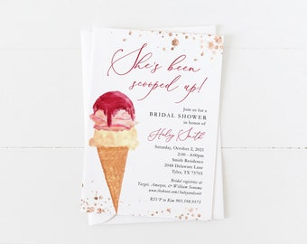 Scooped Up Bridal Shower Invitation   Ice Cream Bridal Shower Invitation   Blush   Rose Gold   Confetti   Simple Bridal Shower Invitation