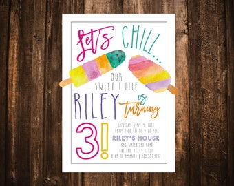 Let's Chill Popsicle Birthday Invitation; Watercolor; Printable or set of 10