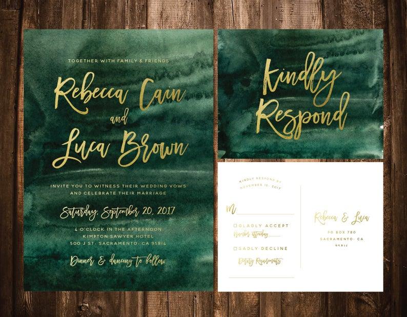 Emerald Watercolor Wedding Invitations Green Watercolor Etsy